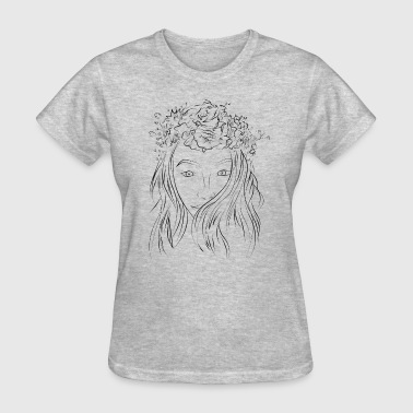 Girl face with flowers drawing - Women's T-Shirt