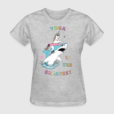 Yoga Is The Greatest Unicorn Riding Shark - Women's T-Shirt