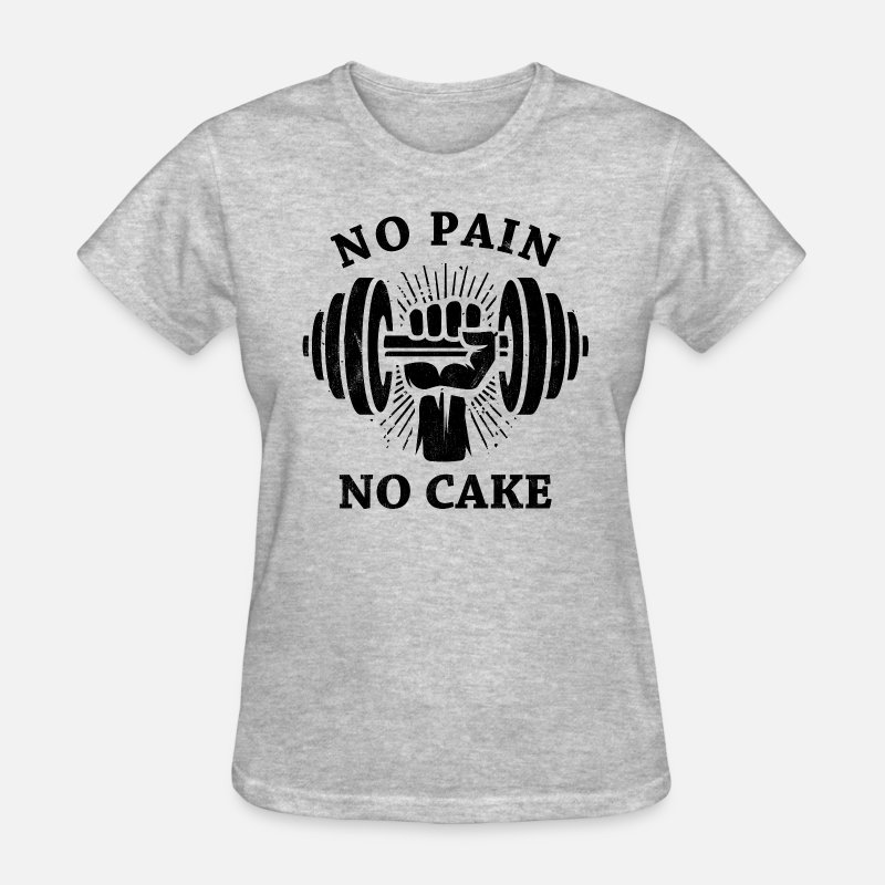 Body Builder T-Shirts - No Pain No Cake BLK - Women's T-Shirt heather gray
