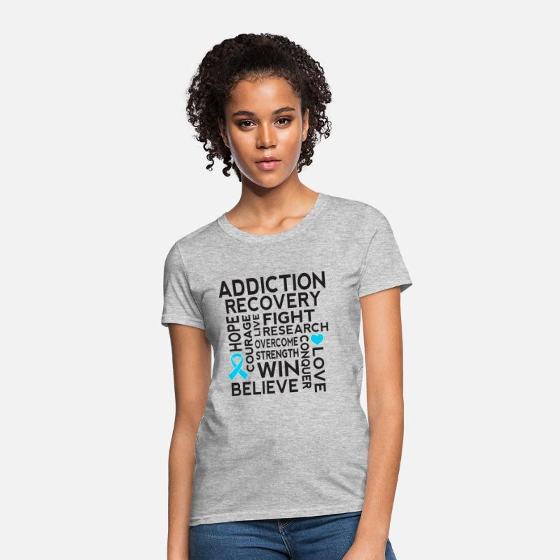 Addiction T-Shirts - Addiction Recovery Awareness Support Ribbon - Women's T-Shirt heather gray