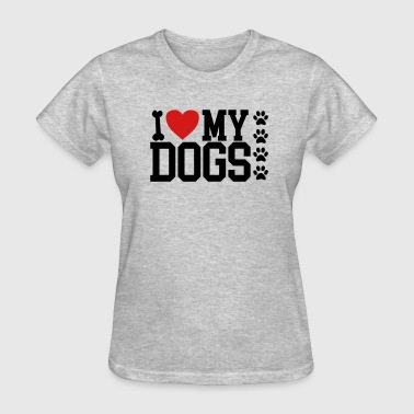 i love my dogs bone paws - Women's T-Shirt