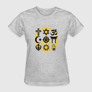 World Religions World religions with peace symbol - Women's T-Shirt