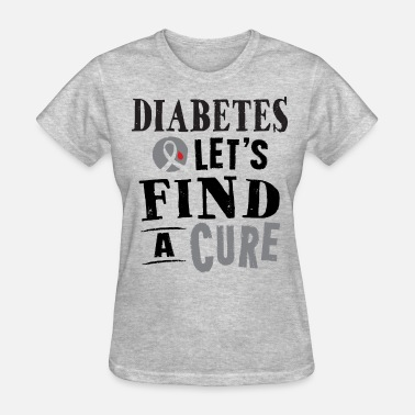Ribbons Diabetes Lets Find A Cure Message - Women's T-Shirt