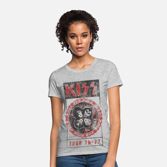 Kiss T-Shirts - Kiss Rock And Roll All Over - Women's T-Shirt heather gray