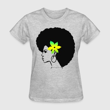 Big Afro (Green Flower) - Women's T-Shirt