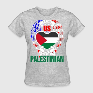 I Live In The Us But My Heart Is In Palestinian - Women's T-Shirt