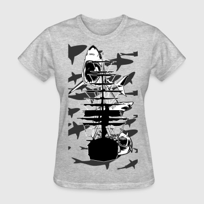 Lots of Sharks and a ship - Women's T-Shirt