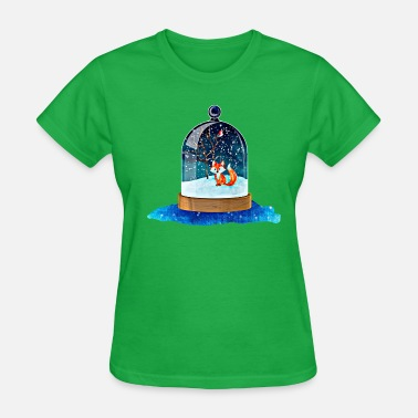 Christmas Snow Bird Christmas snow globe with fox - Women's T-Shirt