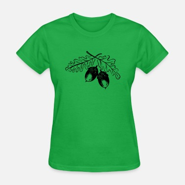 Oak Leaves Acorns, oak leaves, autumn, hiking. - Women's T-Shirt