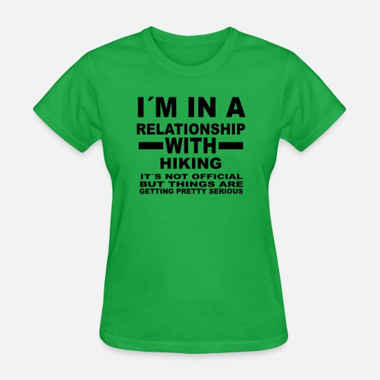 Hiking T-Shirts - relationship with HIKING - Women's T-Shirt bright green