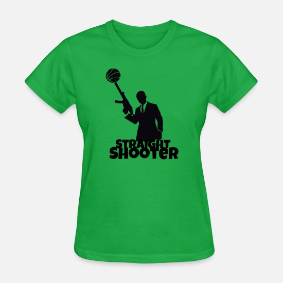 Straight T-Shirts - Straight Shooter Basketball - Women's T-Shirt bright green