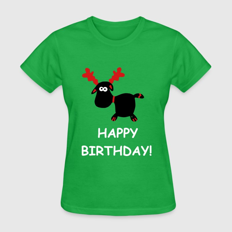Happy Birthday Elk Moose Caribou gift Present Xmas - Women's T-Shirt
