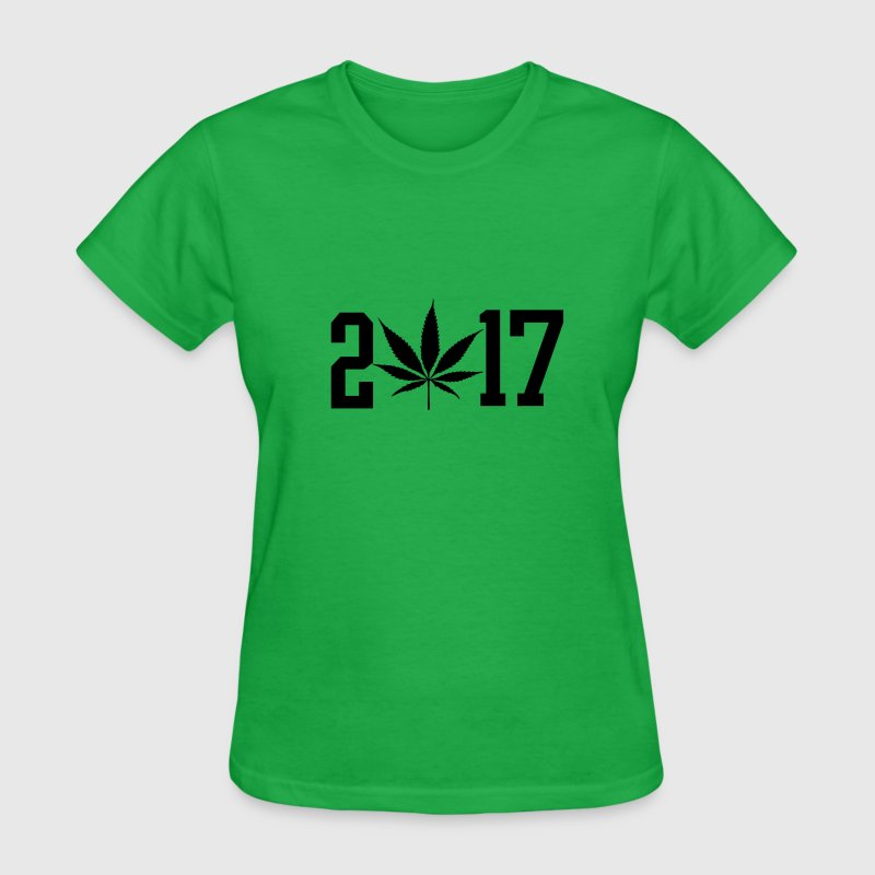 2017 black pot leaf green weed  - Women's T-Shirt