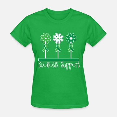 Scoliosis Scoliosis Support Awareness Ribbon Flowers - Women's T-Shirt