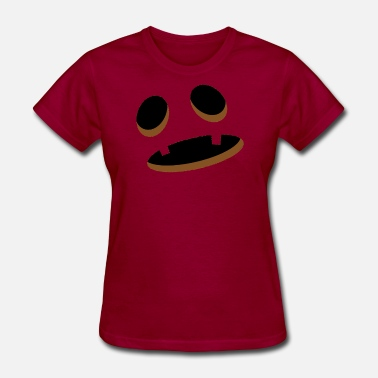 Shock Monster Big Scary Orange Shocked Pumpkin Face Halloween - Women's T-Shirt
