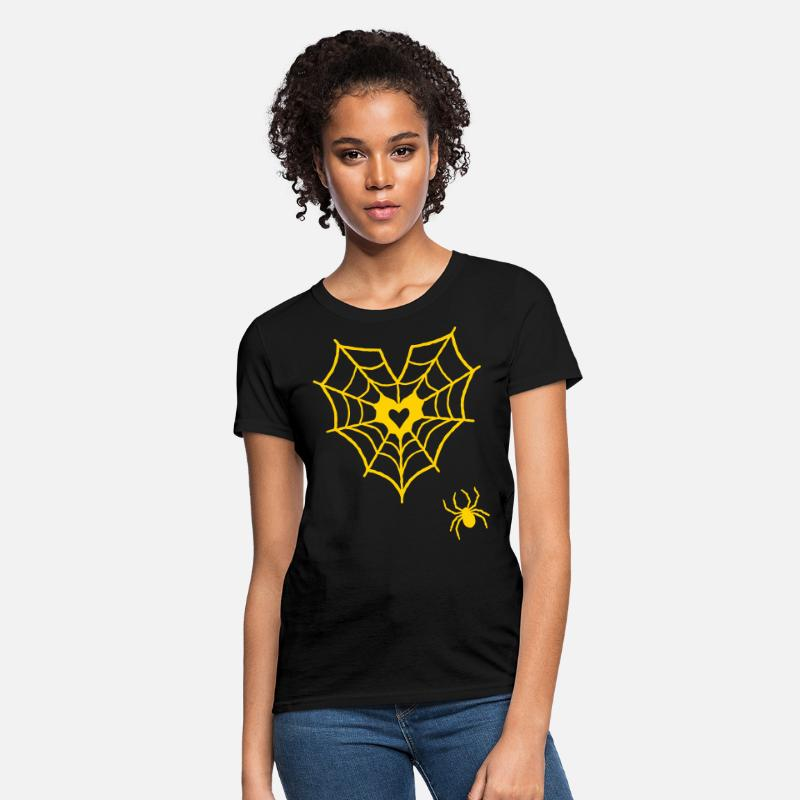 Halloween T-Shirts - Gladditudes spider for web heart - Women's T-Shirt black