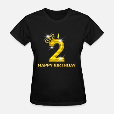 Number 2 Mom 2 - Happy Birthday - Golden Number - Women's T-Shirt