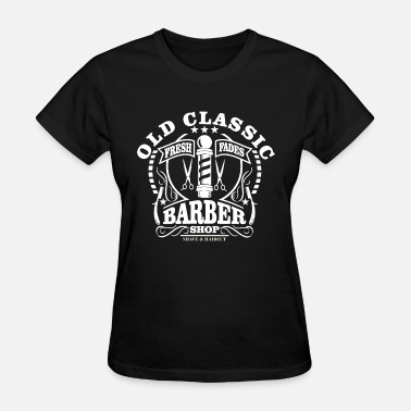 Old Classic Barber Shop Beard Haircut mens black t - Women's T-Shirt