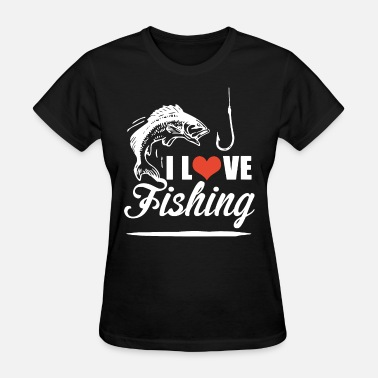 Red Milf i love fishing red heart fish in the beach ocean f - Women's T-Shirt