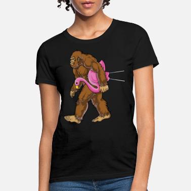 923b5b2c Bigfoot Carrying Lawn Flamingo T Shirt Funny - Women's ...