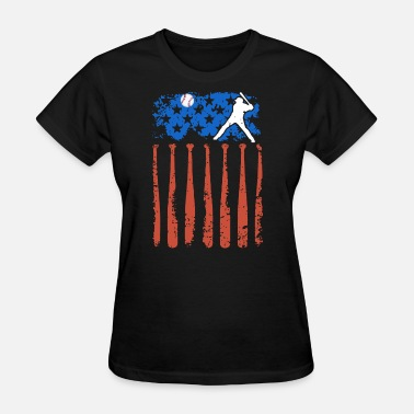 Country Ball country flaf of america play ball player baseball - Women's T-Shirt