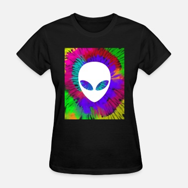 Die Rainbow tie dye alien head tye die trippy rave - Women's T-Shirt