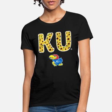 Jayhawk Funny sunflower ku logo inside team name kansas jayhawks - Women's T-Shirt