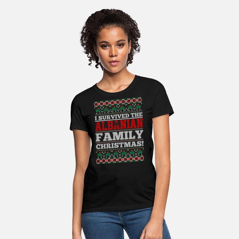 Country T-Shirts - I Survived The Albanian Family Ugly Christmas Tshi - Women's T-Shirt black
