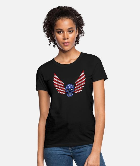 Celebrate July 4th T-Shirts - Happy Independence Day 4 J Skull Stars and Stripes - Women's T-Shirt black