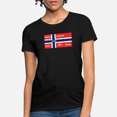 NORWAY grunge drapeau femmes t-shirt tee top Noreg NORWEGIAN norge shirt football