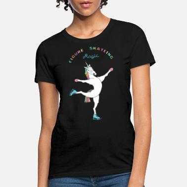 Skating Figure Skating Magic Unicorn Outline - Women's T-Shirt