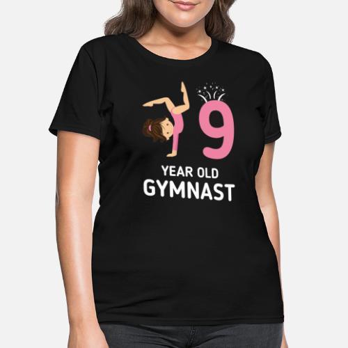 Girls Gymnastics Birthday Shirt Kids 9 Years Old Womens T