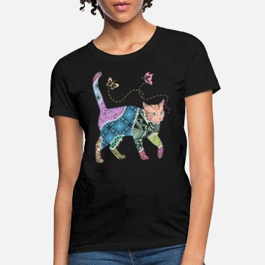 Butterfly Abstract Cat Colorful Butterfly Art Artistic - Women's T-Shirt