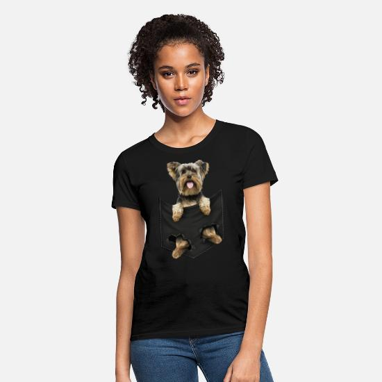 Pocket T-Shirts - yorkshire terrier pocket mid classic dogs - Women's T-Shirt black