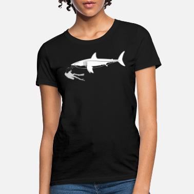 Scuba Diver Swimming With Great White Shark - Women's T-Shirt