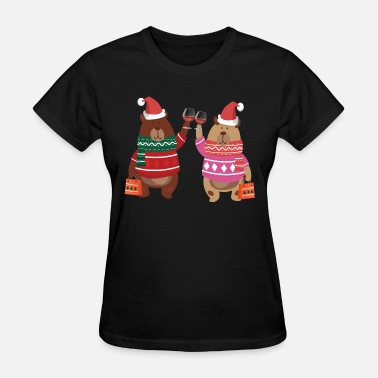 Drinking Couples Beary couple drinking wine - Women's T-Shirt