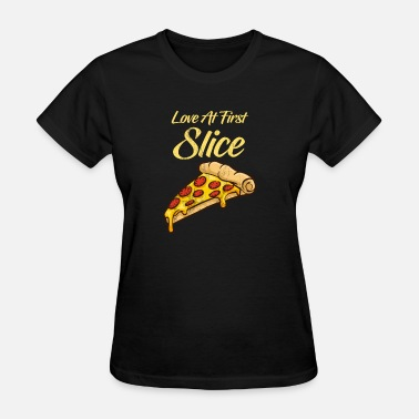 Pepperoni Jokes Love At First Slice Funny Pizza TShirt Pepperoni - Women's T-Shirt