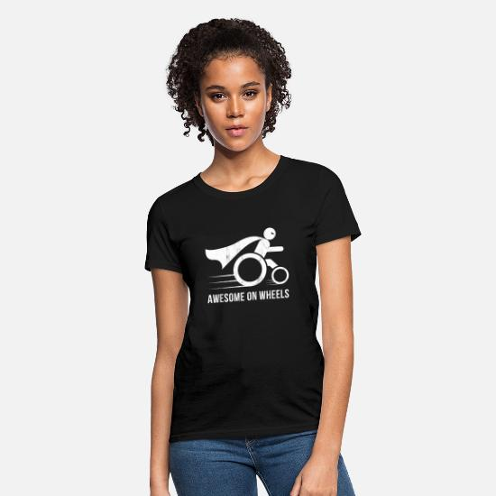 Disability T-Shirts - Awesome On Wheels Wheelchair Superhero Funny - Women's T-Shirt black