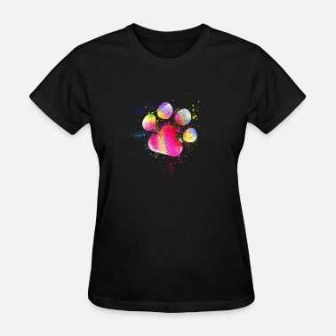 Dog Face Printed Beautiful Paw Print Watercolor Splash Dog - Women's T-Shirt