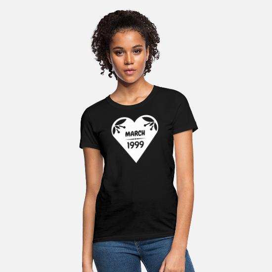 Year Of Birth T-Shirts - March 1999 Heart - Women's T-Shirt black