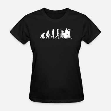 Evolution Of The Drummer drummer Evolution drummer, drumming evolution - Women's T-Shirt