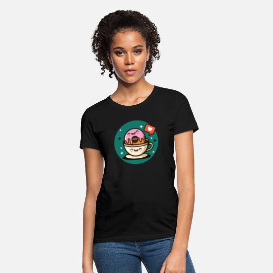 Day T-Shirts - Happy Donut Coffe Love Shirt - Women's T-Shirt black
