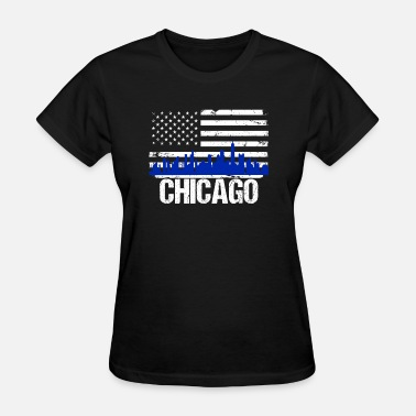 Chicago American Flag Chicago Skyline Distressed American Flag - Women's T-Shirt