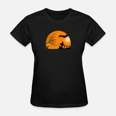Sparkle Halloween Halloween tree bat grave cat sparkle gift - Women's T-Shirt