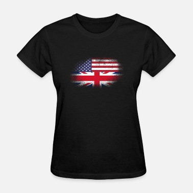 British American Flag Distressed Half America Half UK Flag Mix - Women's T-Shirt