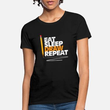 Paint Brush Eat Sleep Draw Repeat Gift Christmas Kids - Women's T-Shirt