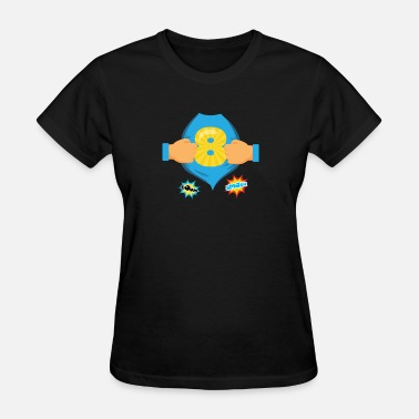 Birthday Kid Superhero Kids Birthday Super Kids 8th Birthday - Women's T-Shirt