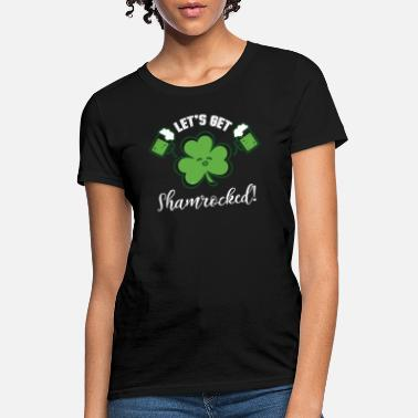 Clover Character with Beer Mugs St Patrick Humor - Women's T-Shirt