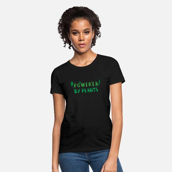Funny T-Shirts - POWERED BY PLANTS - Women's T-Shirt black