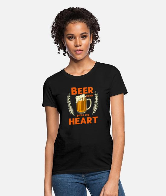 Heart T-Shirts - beer brokeBeer never broke my heart alcohol - Women's T-Shirt black